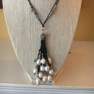Dressy long freshwater pearl and bead necklace